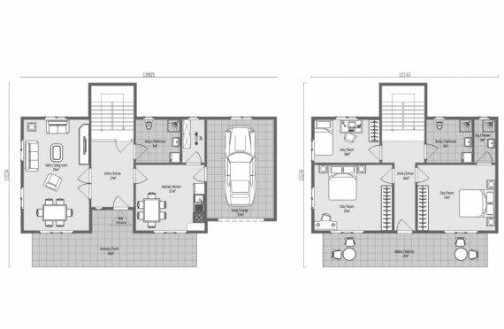 196 м2 Большие двухэтажные готовые дома