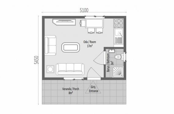 28 м2 одноэтажный модульные дома